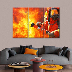 Brave Fireman Multi Panel Canvas Wall Art - Firefighters