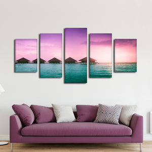 Breathtaking Bungalows Multi Panel Canvas Wall Art - Beach
