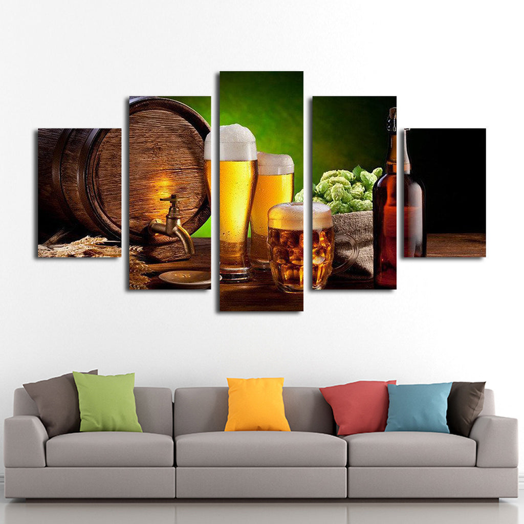 brew beer multi panel canvas wall art elephantstock. Black Bedroom Furniture Sets. Home Design Ideas