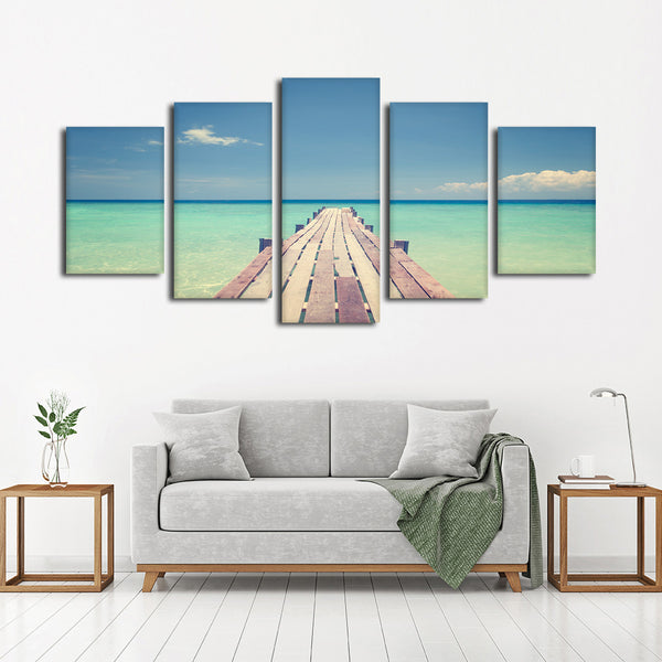 Bridge To The Sea Multi Panel Canvas Wall Art