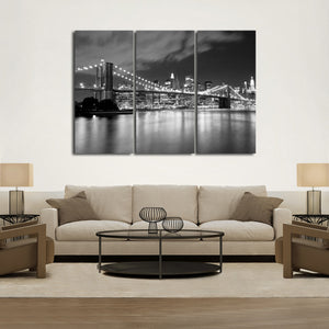 Brooklyn Bridge at Night Multi Panel Canvas Wall Art - City