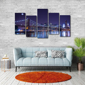 Brooklyn Bridge Glow Multi Panel Canvas Wall Art - City