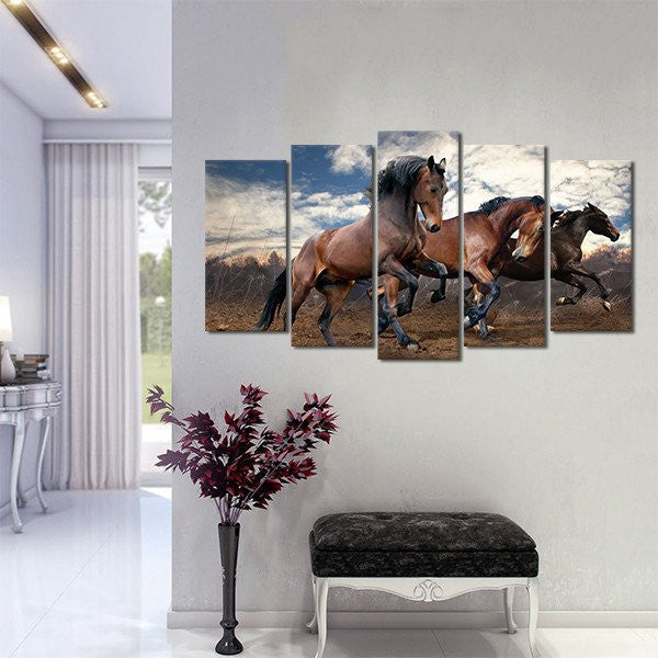 Multi Panel Canvas Wall Art brown horses riding multi panel canvas wall art – elephantstock