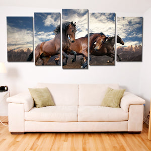 Brown Horses Riding Multi Panel Canvas Wall Art - Horse