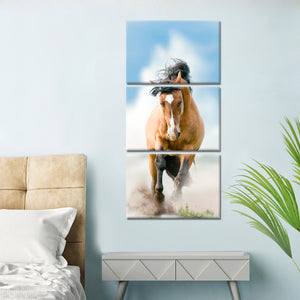 Brown Stalion Multi Panel Canvas Wall Art - Horse