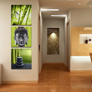 Bamboo Buddha Canvas Set Wall Art - Buddhism
