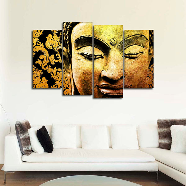 Buddha In Gold Multi Panel Canvas Wall Art