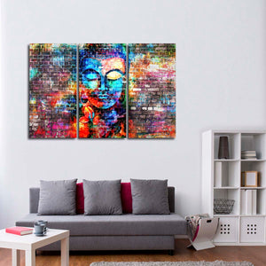 Graffiti Buddha Multi Panel Canvas Wall Art - Buddhism