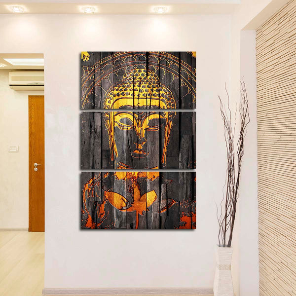 Wooden Carved Buddha Multi Panel Canvas Wall Art & Wooden Carved Buddha Multi Panel Canvas Wall Art | ElephantStock