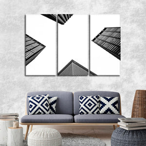 Buildings From Below Multi Panel Canvas Wall Art - Architecture