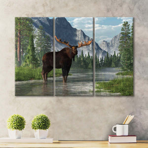 Bull Moose Habitat Multi Panel Canvas Wall Art - Animals