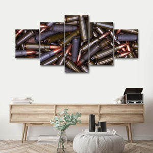Bullet Force Multi Panel Canvas Wall Art - Guns
