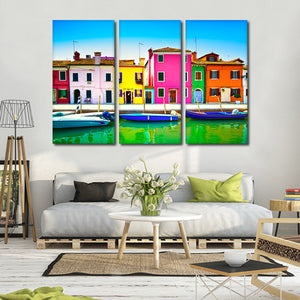 Burano Island Multi Panel Canvas Wall Art - Color