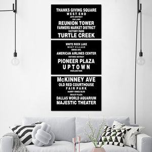 Bus Roll Dallas Multi Panel Canvas Wall Art - City