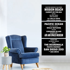 Bus Roll San Diego Multi Panel Canvas Wall Art - City
