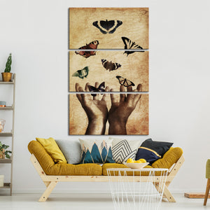 Butterfly Fantasy Multi Panel Canvas Wall Art - Animals