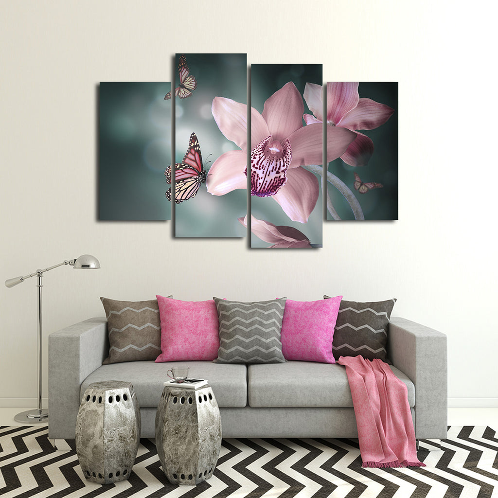 butterfly orchid multi panel canvas wall art elephantstock. Black Bedroom Furniture Sets. Home Design Ideas