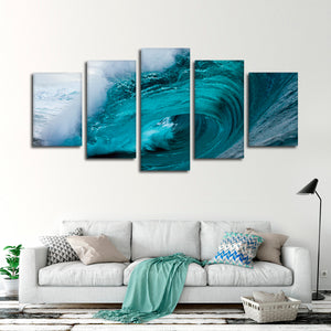 Byron Bay Wave Multi Panel Canvas Wall Art - Surfing
