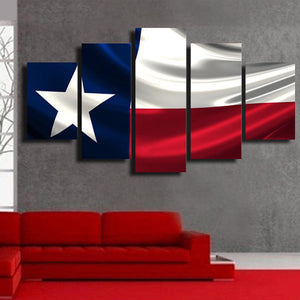 Windy Texan Flag Multi Panel Canvas Wall Art