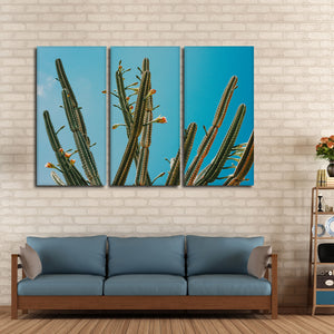 Cacti Against Blue Sky Multi Panel Canvas Wall Art - Botanical