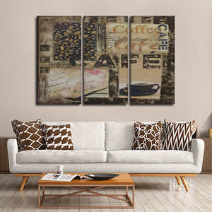 Cafe Collage Multi Panel Canvas Wall Art - Kitchen