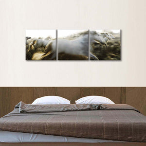 Camargue Horses In Action Multi Panel Canvas Wall Art - Horse