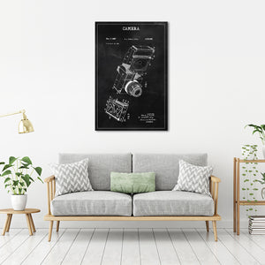 Camera Patent BW Canvas Wall Art - Patent