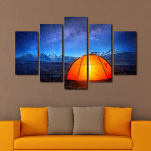 Camping Under Stars Multi Panel Canvas Wall Art - Astronomy