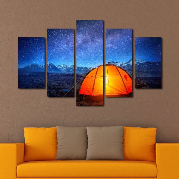 Camping Under Stars Multi Panel Canvas Wall Art