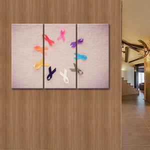 Cancer Awareness Ribbons Multi Panel Canvas Wall Art - Symbol