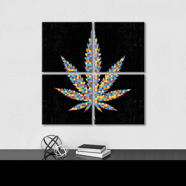Cannabis Abstract Multi Panel Canvas Wall Art