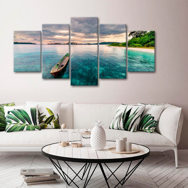 Canoe At Sunset Multi Panel Canvas Wall Art