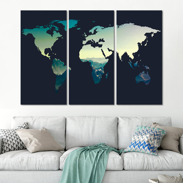 Canyon World Map Multi Panel Canvas Wall Art