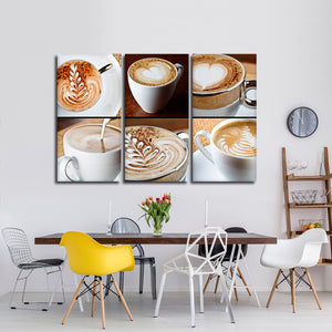 Cappuccino Latte Multi Panel Canvas Wall Art - Coffee