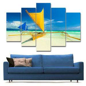 Caribbean Catamaran Multi Panel Canvas Wall Art - Boat
