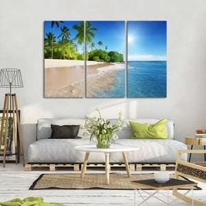 Caribbean Sea Multi Panel Canvas Wall Art - Beach