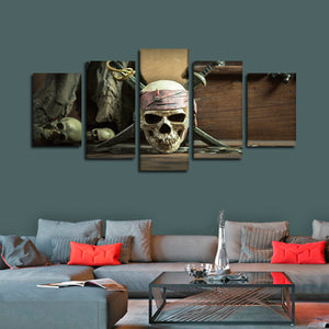 Caribbean Skull Multi Panel Canvas Wall Art - Gothic