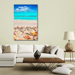 Caribbean Starfish Imprint Multi Panel Canvas Wall Art - Beach