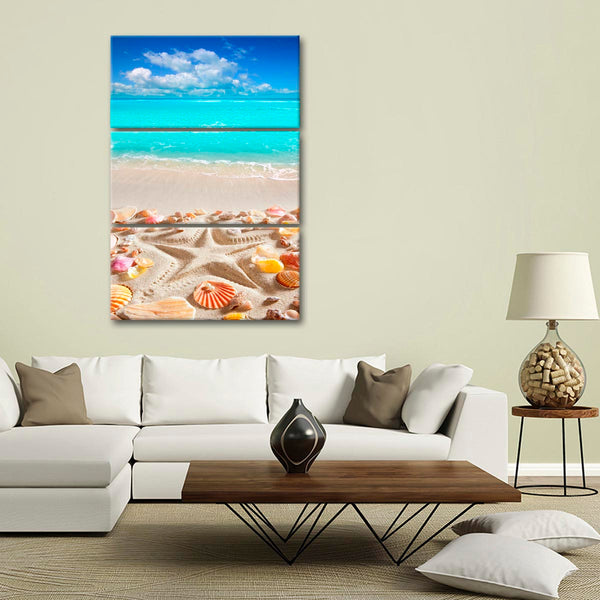 Caribbean Starfish Imprint Multi Panel Canvas Wall Art