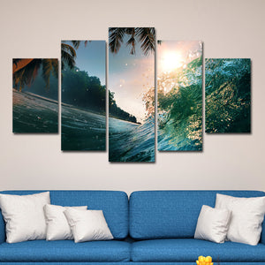 Caribbean Wave Multi Panel Canvas Wall Art - Surfing