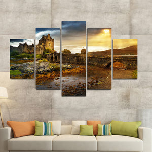 Castle At Sunset Multi Panel Canvas Wall Art - Castle