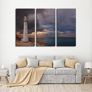 Castle Point Lighthouse Multi Panel Canvas Wall Art - Lighthouse