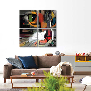 Cat Abstract Multi Panel Canvas Wall Art - Cat