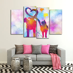 Cat And Dog Love Multi Panel Canvas Wall Art - Veterinarian