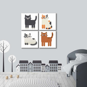 Cat Breeds Multi Panel Canvas Wall Art - Cat