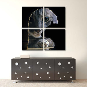 Cat Chasing Mouse Multi Panel Canvas Wall Art - Cat