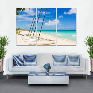 Catamarans At Saint Martin Multi Panel Canvas Wall Art - Boat
