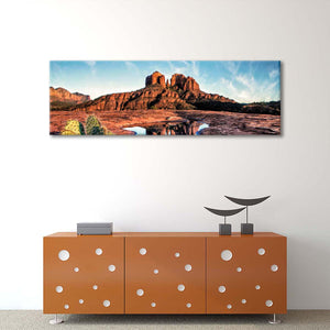 Cathedral Rocks Reflection At Sunset Multi Panel Canvas Wall Art - Nature