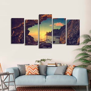 Cave Sunset Multi Panel Canvas Wall Art - Beach