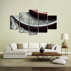 Coins Multi Panel Canvas Wall Art - Gold